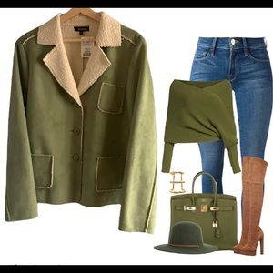💫Host Pick💫NWT 🌺Eiviesa Faux Suede lined jacket
